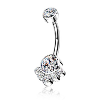 Belly button ring made from titanium with round cluster stones